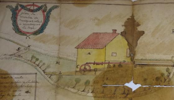 Extrait d'un vieux plan du moulin d'origine